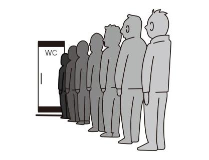 トイレは並ぶ